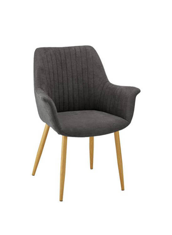 Elegantná stolička s podrúčkami - tmavošedá | kov | textil