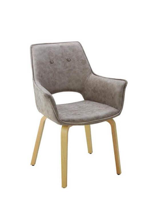Jedálenska stolička s podrúčkami - svetlošedá | drevo | textil