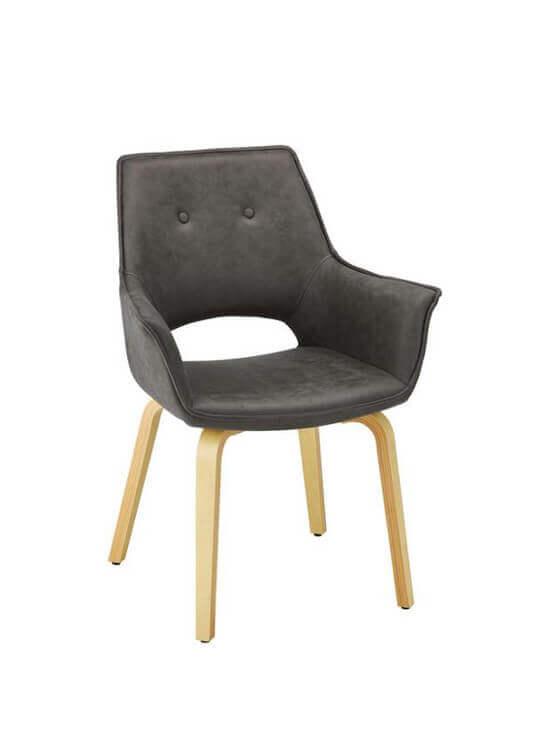 Jedálenska stolička s podrúčkami - tmavošedá | drevo | textil