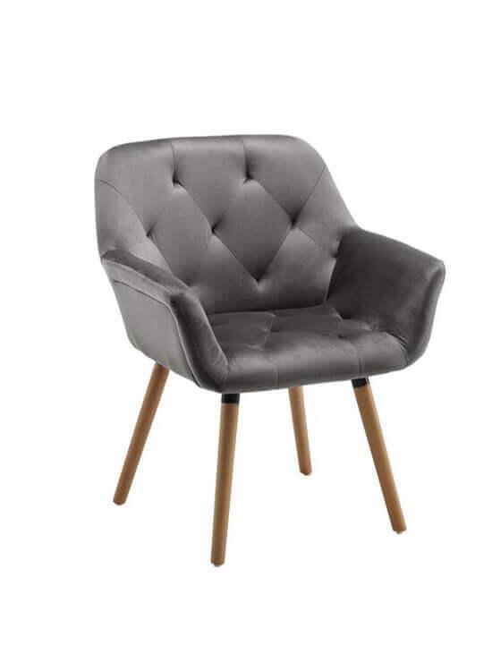 Kreslo - zamatovo-šedé | drevo| textil