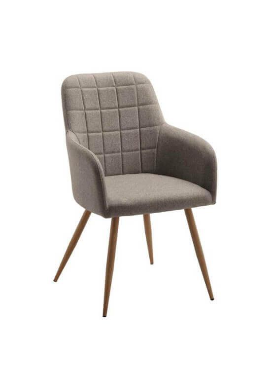 Kuchynská stolička s podrúčkami - béžová | kov | textil