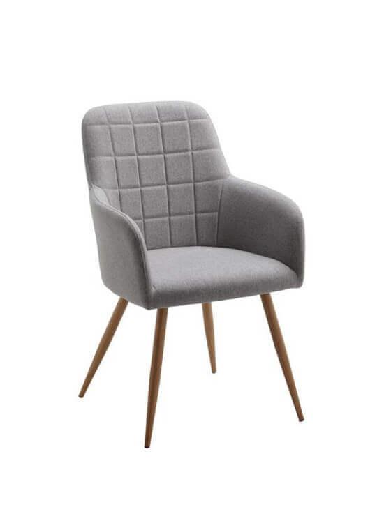 Kuchynská stolička s podrúčkami - svetlo šedá | kov | textil