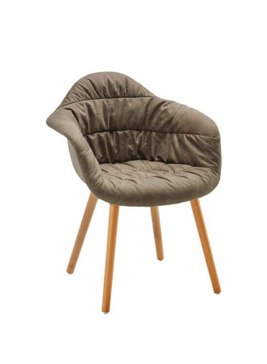Pohodlné kreslo - hnedo-šedé | Buk| textil