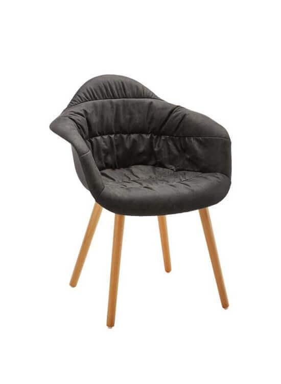 Pohodlné kreslo - tmavo-šedé | Buk| textil