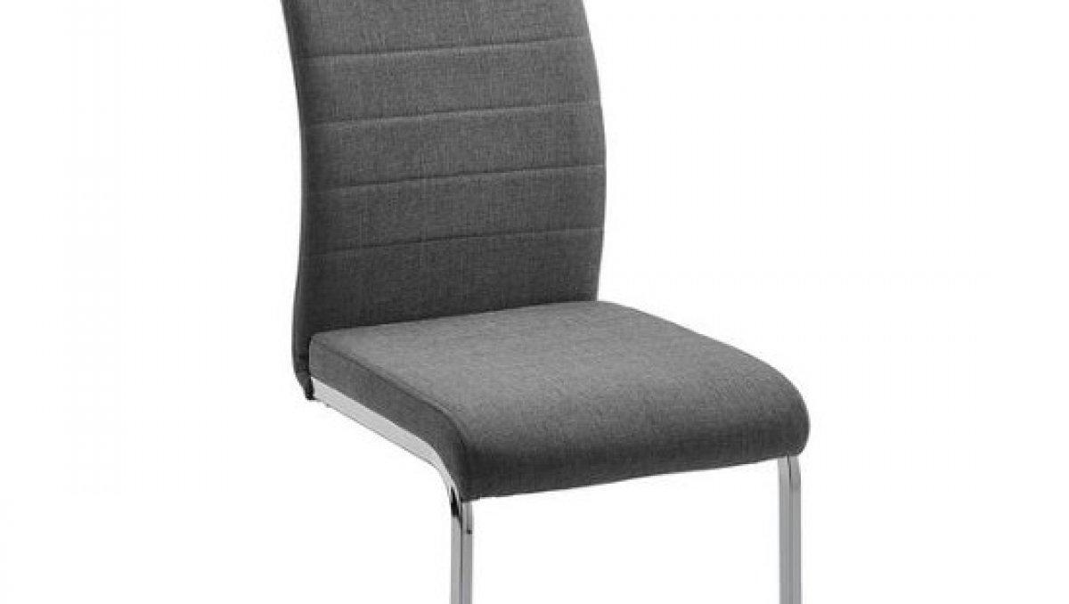 Stolička - svetlošedá | chróm | textil