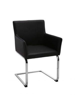 Stolička - čierna | chróm | koženka