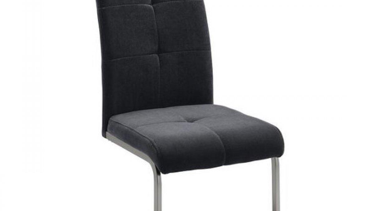 Stolička - šedá | chróm | textil