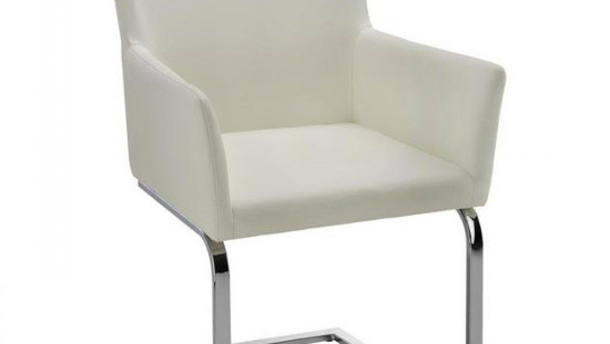 Stolička - biela | chróm | koženka