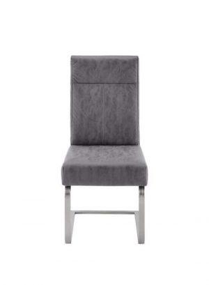 Stolička - fialovo šedá | chróm | koženka