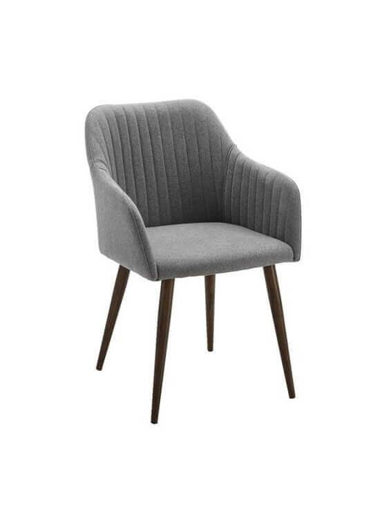 Stolička s podrúčkami - šedá | drevo | textil