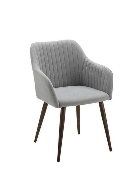 Stolička s podrúčkami - svetlošedá | drevo | textil