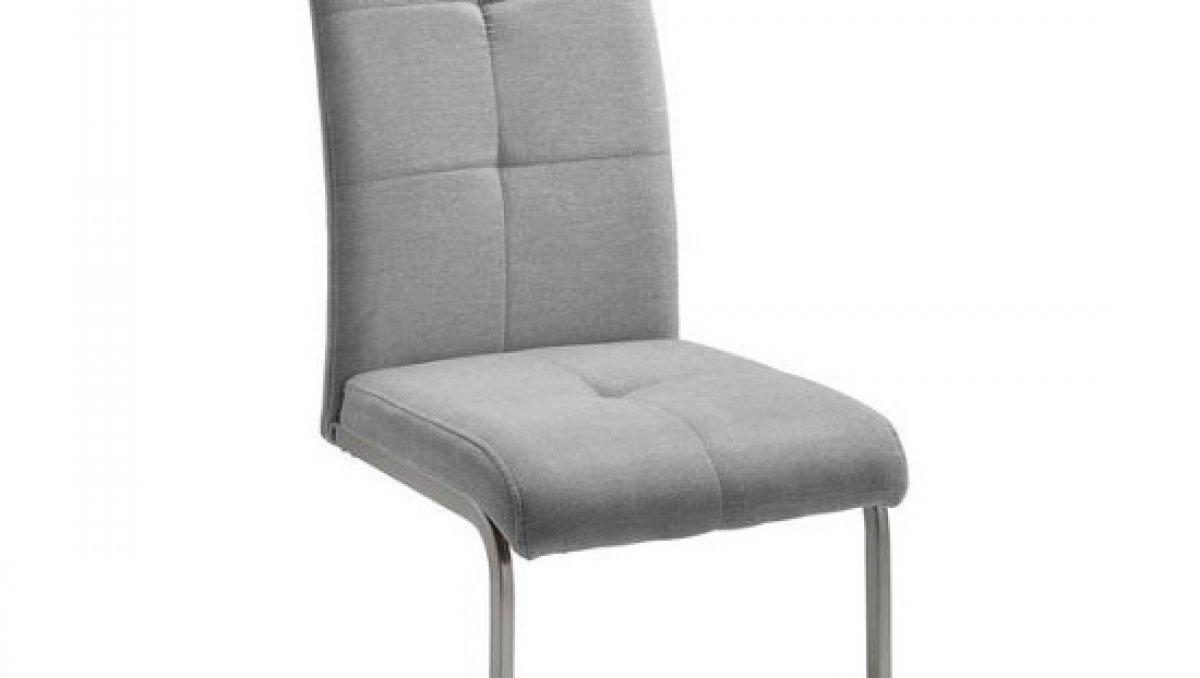 Stolička - svetlo šedá | chróm | textil