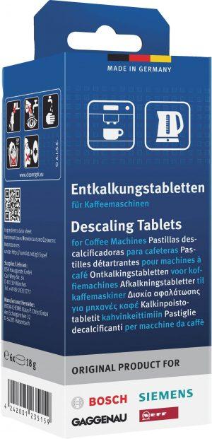 Tablety na odstránenie vodného kameňa pre kávovary